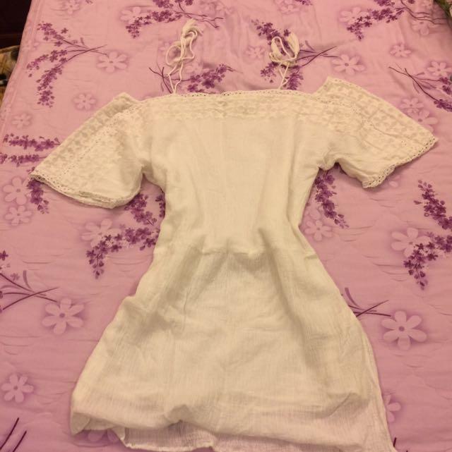 綁帶純白小洋裝