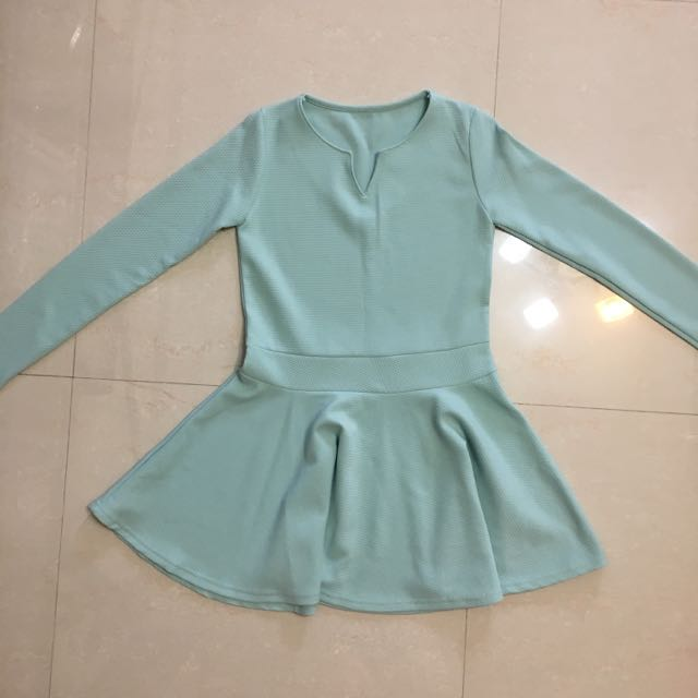 韓風淺藍長袖洋裝