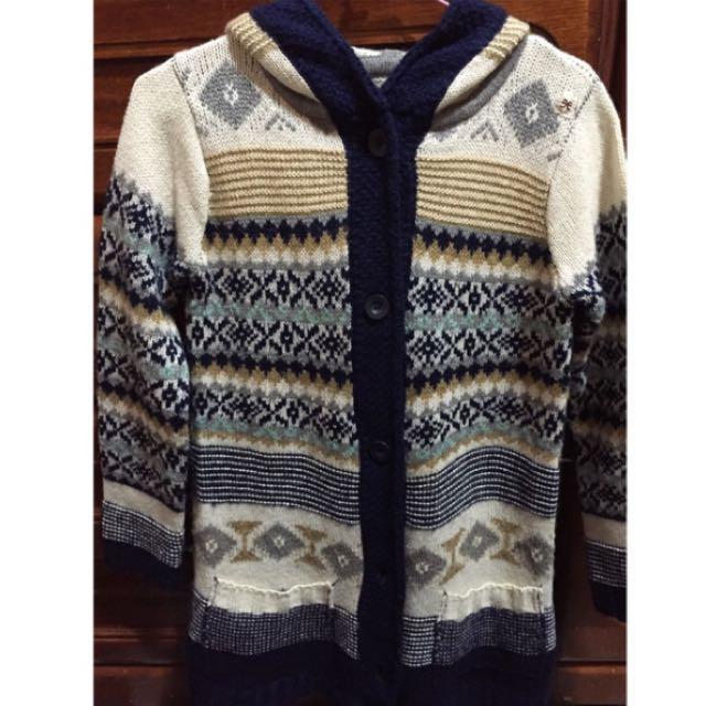 民族風針織長版外套