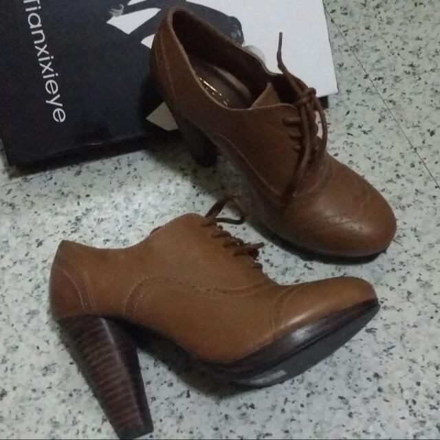 棕色 咖啡色  高跟裸靴 牛津鞋