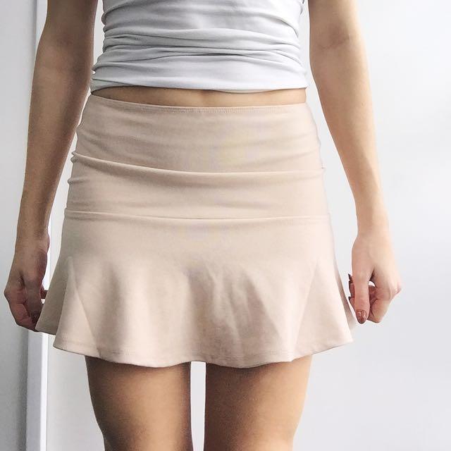 Beige Half Tight/flowy Mini Skirt