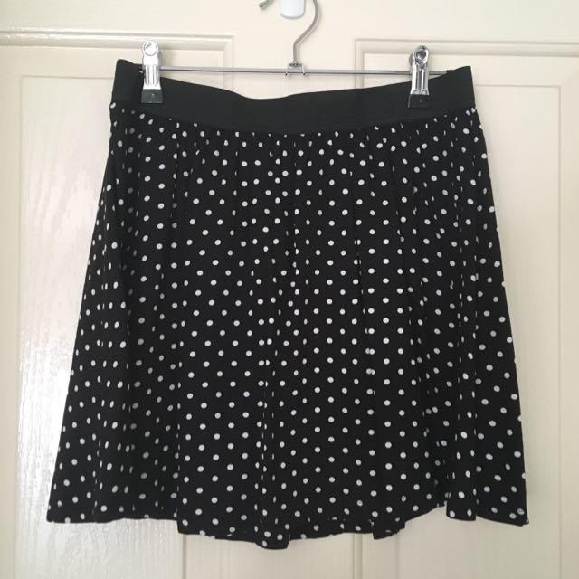 Black And White Polkadot Mini Skirt