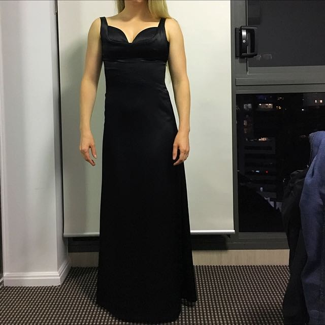 Black Satin Full Length Evening Gown