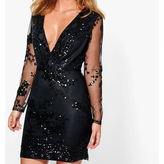 Black sequence long sleeve dress