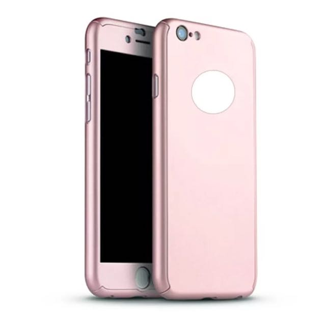 Brand New 360 iPhone 6/6s Full Hybrid Cover + Tempered Glass Rose Gold