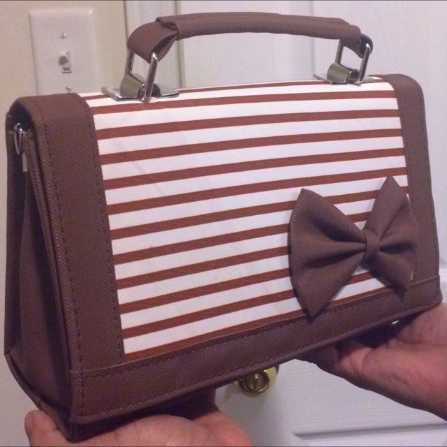 Brown Striped Crossbody Bag