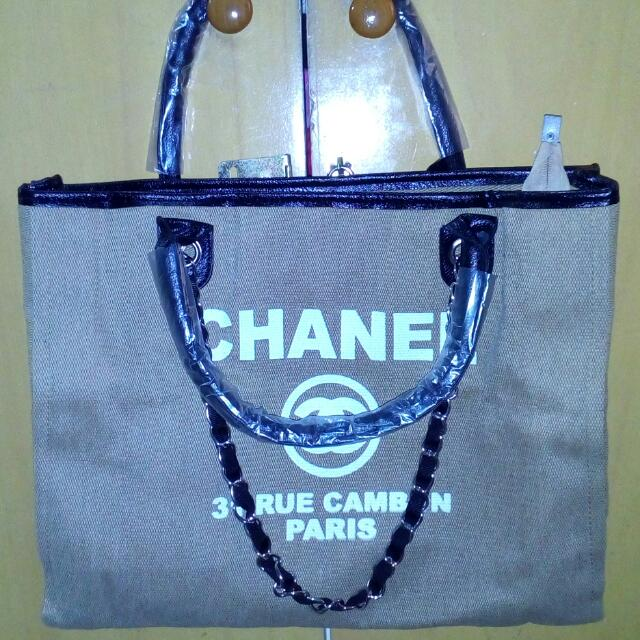 CHANEL Canvas Chained Shoulder Bag