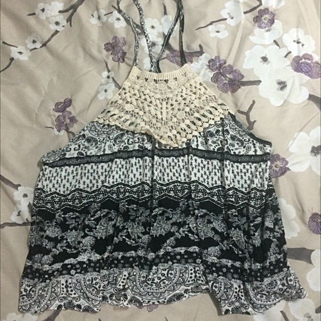Crochet And Patterned Hater Crop Top