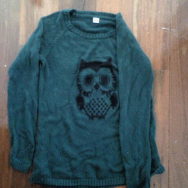 Dark Green S'Oliver Owl Jumper