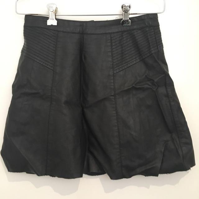 Dotti PU leather A-line Skirt