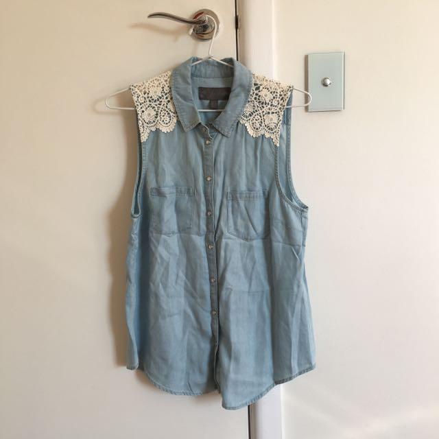 Forever New Denim Shirt Size 10