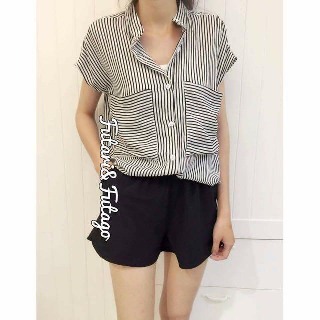 轉賣futari&futago一套條文襯衫+質感鬆緊西裝褲