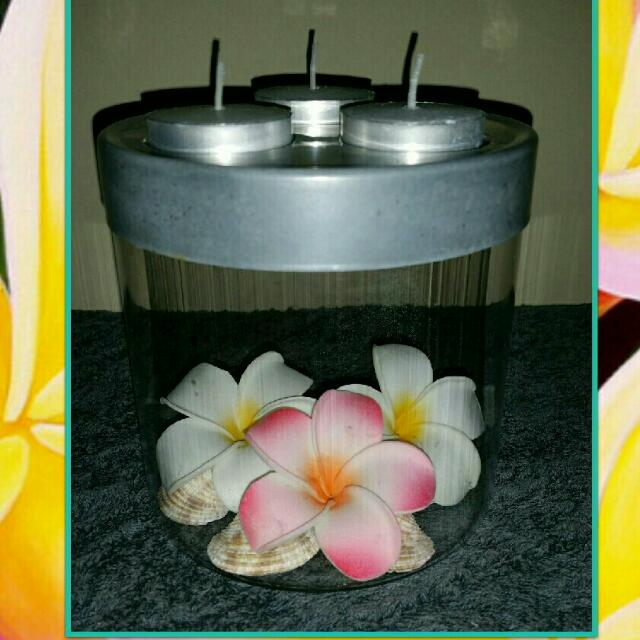 SOLD ELSEWHERE- GLASS FRANGIPANI HOLDER