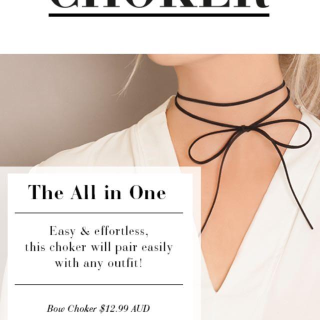 Instocks  Minimalistic Wrap   Bow  Ribbon Tie Black Choker c7218e3789
