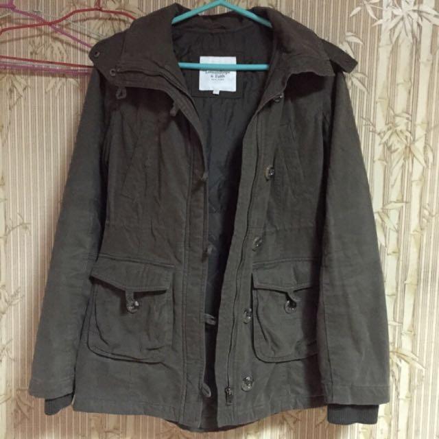 L&F 軍綠色 連帽毛毛大衣外套