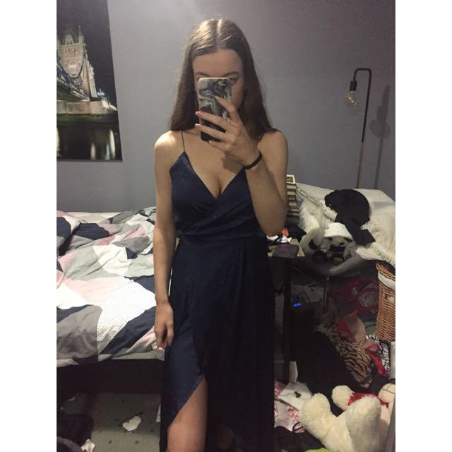 Long Blue Silk Dress