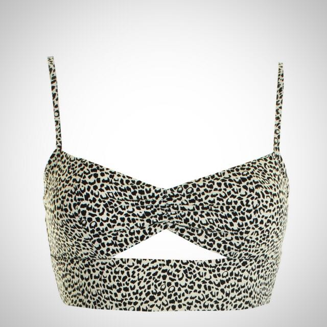 LOVE Black And White Animal Print Cut Out Bra Top