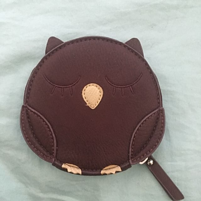 Maroon And Gold Owl Coin Purse