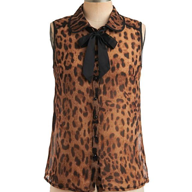 ModCloth Leopard Print Sheer Top