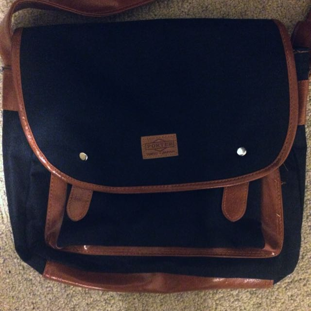 Navy And Brown Crossbody School Bag