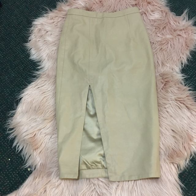 Nude Leather Pencil Skirt Bardot Size 6