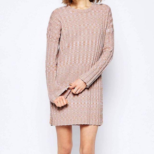 Pink Swing Casual Dress In Rib