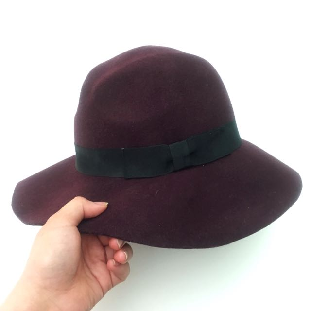 Plum Wool Felt Floppy Hat