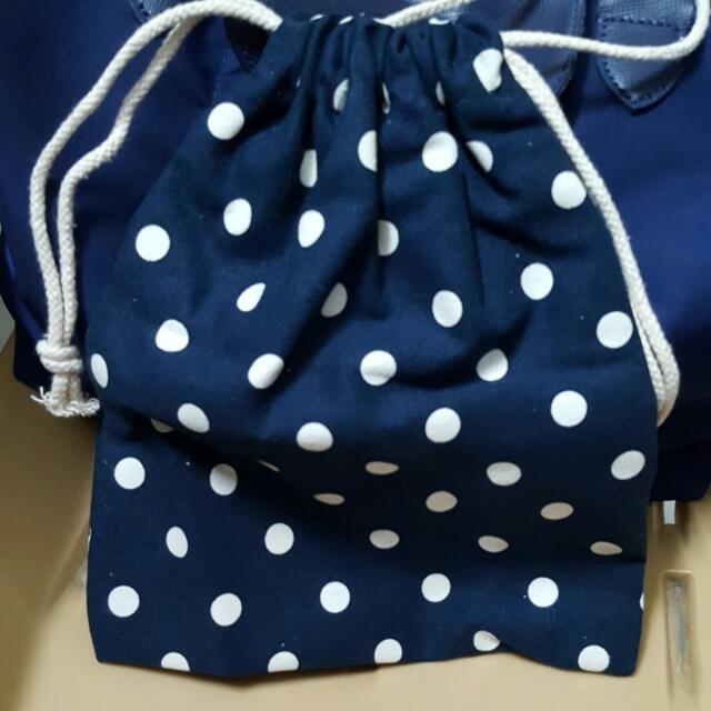 7eae0158c070 White Polka Dots Navy Blue Drawstring Bag (Handcarry And Sling ...