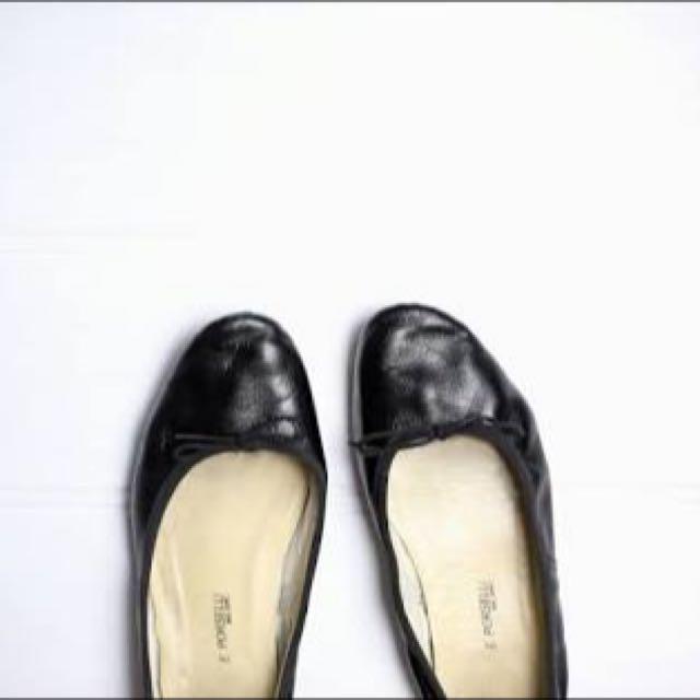Porselli Black Leather Ballet Flats Brand New Sz 38