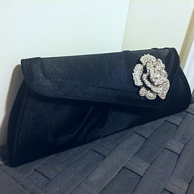 Satin Diamond Rose Clutch