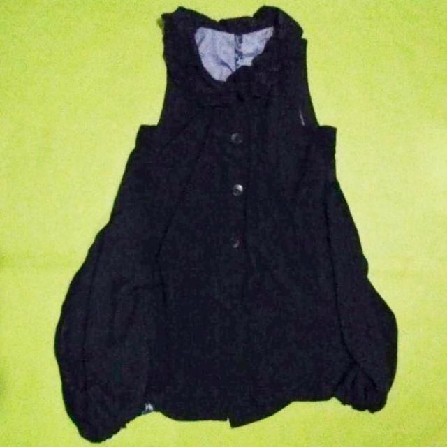 Sleeveless Korean Style Blakc Coat with Back Print Design