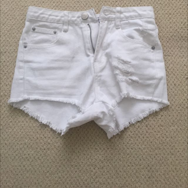 The Rockn Rev White Ripped Off Denim Shorts