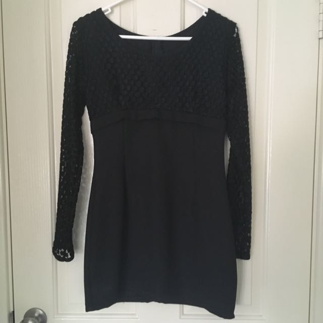 Vintage Black Long Sleeved Mini Dress