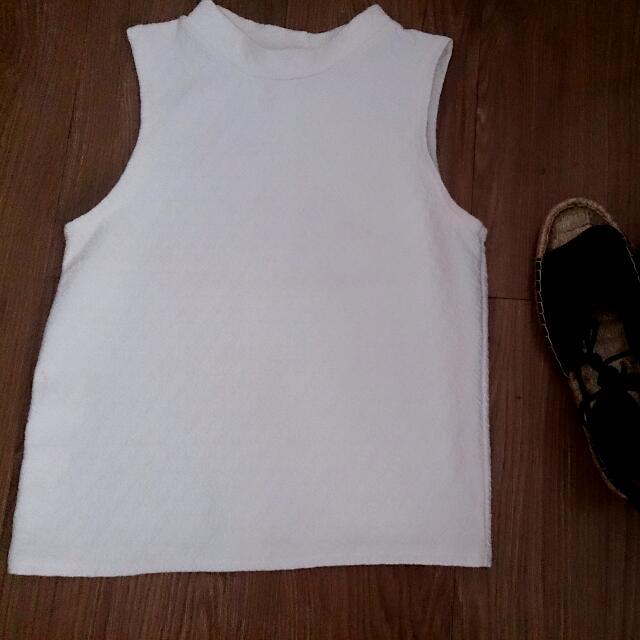 White Sleeveless  Crop Top