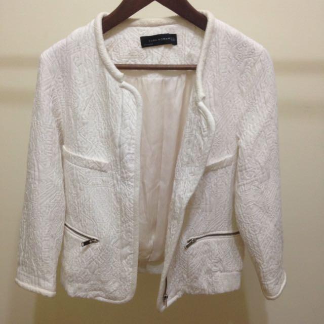 Zara白色提花外套