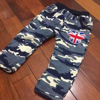 藍色迷彩米奇造型厚鋪棉長褲