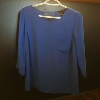 Blue Blouse W/ Lace Back