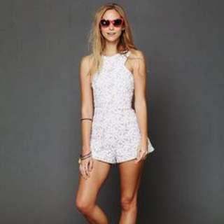 Shakuhachi White Floral Playsuit