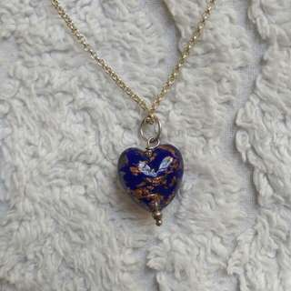 """Murano"" Glass Heart On 46cm Sterling Silver Chain"