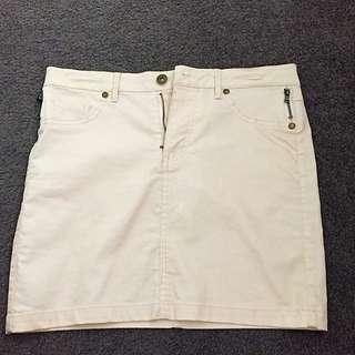 Beige Denim Mini Skirt (S)