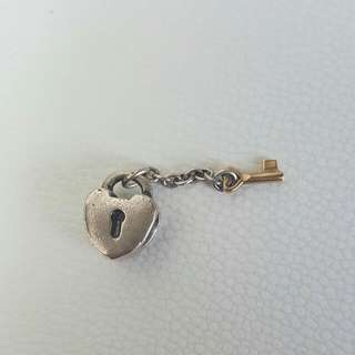 Pandora Charm Silver Heart Lock With Gold Key