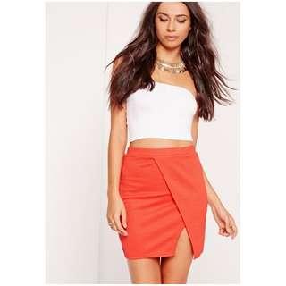 textured wrap mini skirt orange size 4 xxs