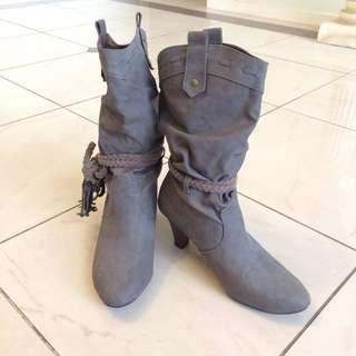 Grey Cowboy Style Heeled Boots