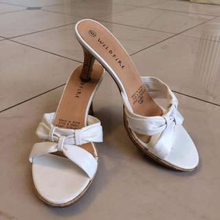 White Cork-Heeled Sandals