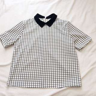 collared gridded shirt