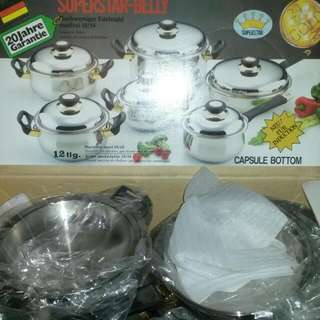 SUPER STAR BELLY STOVE TOP 18 PIECE stainless STEEL Set For SALE.