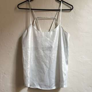 White & Sliver Low Back Thin Strap Top