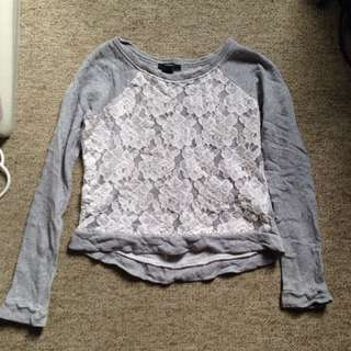 Grey Jumper With Lace Size L