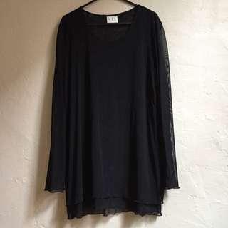 Black Long Sleeve Mesh Dress