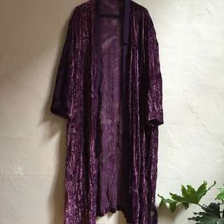 Vintage Purple Velvet Floral Long sleeve Shawl